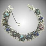 Vintage book link Bracelet with rhinestones and glass cabochons
