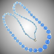Vintage blue faceted glass bead Necklace with crystal bead spacers