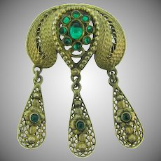 Vintage Etruscan design gold tone Brooch with emerald green glass cabochon and beads