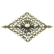 Vintage unusual open design Brooch with iridescent cabochon and imitation pearls