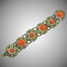 Vintage filigree gold tone link Bracelet with celluloid carved flowers