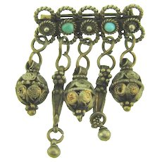 Vintage small silver tone Bar Pin with dangles and small turquoise glass beads