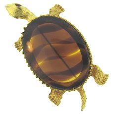 Vintage large figural turtle Brooch with tortoise shell Lucite body and red rhinestone eyes