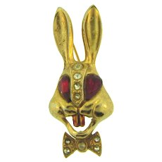 Vintage figural gold tone rabbit head Brooch with red and crystal rhinestones