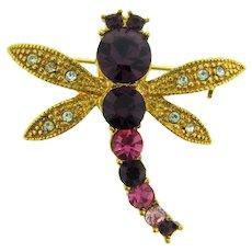 Vintage figural dragonfly Brooch with rhinestones