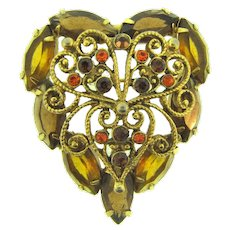 Vintage heart shaped Brooch with topaz rhinestones