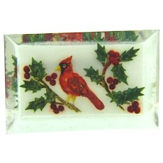 Vintage reverse carved Lucite Brooch with winter Cardinal bird scene