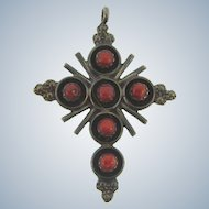 Vintage large Southwestern sterling silver Cross Pendant with red coral beads