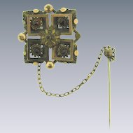 Antique gold filled square Brooch with garnets and safety stick pin
