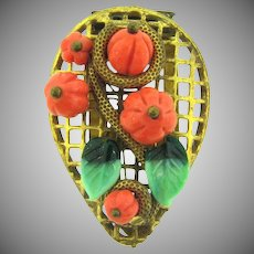Vintage Dress Clip with molded glass pumpkins, glass leaves and vine