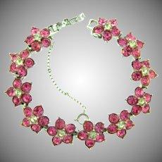 Signed Bogoff floral link Bracelet with pink and crystal rhinestones