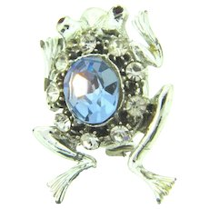 Vintage figural frog Brooch with blue,red and crystal rhinestones