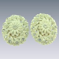 Vintage celluloid floral clip back Earrings with crystal rhinestones