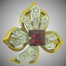 Vintage double layered floral Brooch with crystal and red paste stones