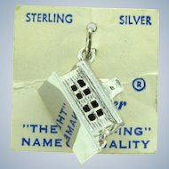NOS Spencer sterling silver school house Charm