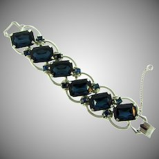 Runway chunky Bracelet with large deep blue glass stones