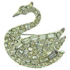 Vintage figural swan Brooch with crystal rhinestones