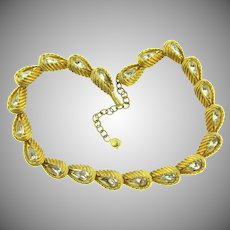 Signed Hattie Carnegie heavy gold tone link choker Necklace with crystal rhinestones