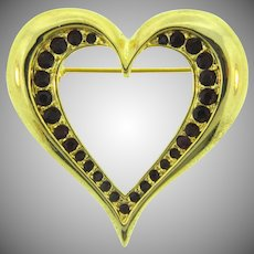Vintage heart shaped gold tone Brooch with red rhinestones