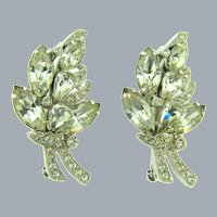 Signed Eisenberg Ice in block letters matching pair of Brooches with crystal rhinestones