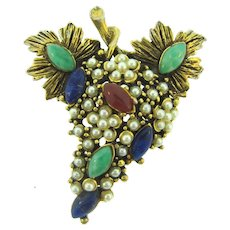 Vintage gold tone grape branch  Brooch with tiny imitation white pearls and opaque rhinestones