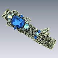 Vintage silver tone mesh Bracelet with rhinestone clasp