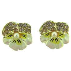 Vintage pair of matching pansy Scatter Pins with lavender rhinestones,imitation pearl and enamel