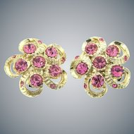 Vintage clip back Earrings with pink rhinestones