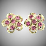 Vintage clip back Earrings with pink rhinestones