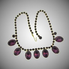 Vintage choker Necklace with deep purple rhinestones