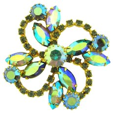 Vintage 1960's floral pinwheel Brooch with green and AB rhinestones