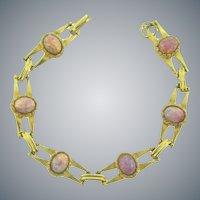 Vintage gold tone link Bracelet with opalescent stones
