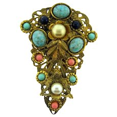 Vintage colorful filigree gold tone Dress Clip with imitation pearls, beads and cabochons