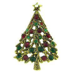 Signed Hollycraft figural Christmas Tree Brooch with rhinestones