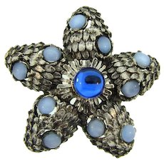 Vintage floral silver tone Brooch with blue glass cabochons