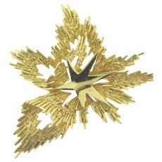 Vintage crown Trifari explosive figural star gold tone Brooch