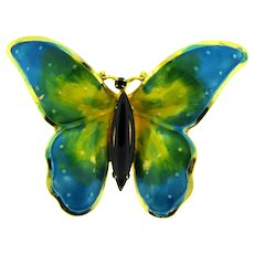 Signed Original by Robert figural enamel butterfly Brooch with black rhinestones