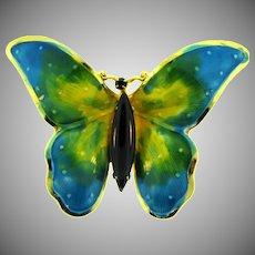 Signed Original by Robert figural enamel butterfly Brooch with black rhinestones