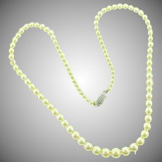 Genuine pearl choker Necklace with marked 10K white gold filigree clasp