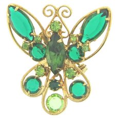 Vintage figural Butterfly Brooch with green rhinestones