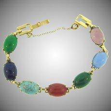 Vintage multicolored glass cabochons link Bracelet
