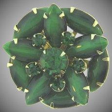 Vintage smaller circular Brooch with green rhinestones