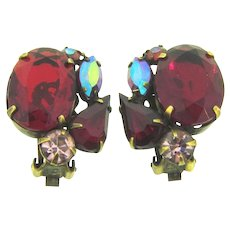 Vintage clip back 1960's Earrings with red, pink and AB rhinestones
