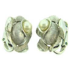 Signed Crown Trifari silver tone clip back flower Earrings with imitation pearl