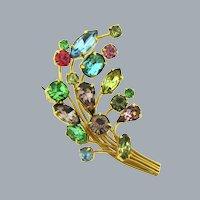 Vintage multicolored rhinestone floral spray Brooch