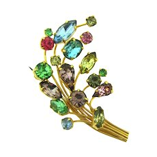 Vintage multicolored rhinestone floral spray Brooch