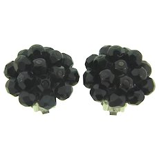 Signed Laguna black faceted glass bead clip back Earrings