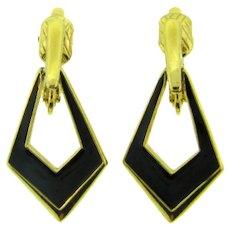 Signed Crown Trifari clip back Earrings with black enamel