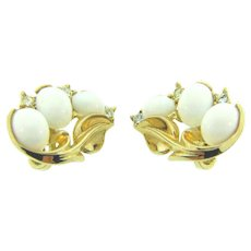 Signed Crown Trifari clip back Earrings with white cabochons and crystal rhinestones