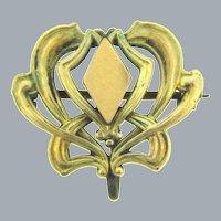 Art Nouveau gold filled Watch Pin